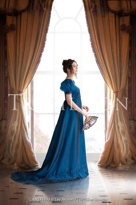 Lee Avison regency woman full length in profile at the window