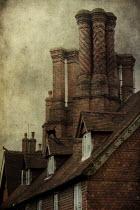 Victoria Davies DECORATIVE REDBRICK CHIMNEYS ON OLD HOUSE Houses
