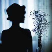 Esmahan Ozkan SILHOUETTE OF WOMAN WITH FLOWERS Women