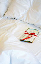 Ilona Wellmann LETTERS TIED WITH RIBBON IN UNMADE BED Miscellaneous Objects