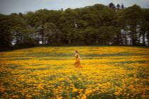 Amelie Satzger WOMAN RUNNING IN FLOWERY FIELD Women