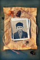 Paul Knight OLD PHOTO WITH PRESSED FLOWERS Miscellaneous Objects