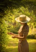 Debra Lill EDWARDIAN WOMAN IN SUNLIT GARDEN Women