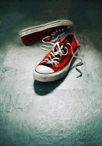 Lyn Randle PAIR OF RED LACE UP TRAINER SHOES Miscellaneous Objects