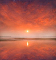 Adrian Leslie Campfield SUNSET AND CLOUDS REFLECTED IN LAKE Lakes/Rivers