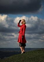Elisabeth Ansley BLONDE RETRO WOMAN IN COUNTRYSIDE Women