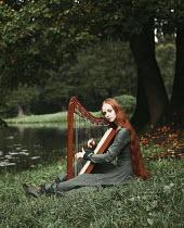 Alexandra Bochkareva WOMAN WITH HARP BY LAKE Women