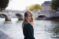 Anna Rakhvalova WOMAN BY RIVER AND BRIDGE IN CITY Women