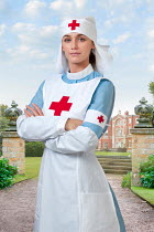 Lee Avison red cross nurse from world war one standing in hospital grounds