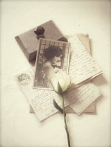 Vesna Armstrong RETRO PHOTO WITH ROSE AND LETTERS Miscellaneous Objects