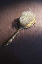 Ysbrand Cosijn GOLD HAIRBRUSH ON TABLE WITH BLONDE HAIR Miscellaneous Objects
