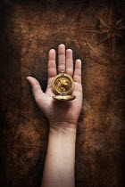 AlcainoCreative HAND HOLDING GOLDEN COMPASS Miscellaneous Objects