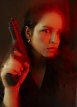 AlcainoCreative WOMAN HOLDING GUN Women