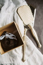 Isabelle Lafrance Hairbrush and dress with lock of hair in box