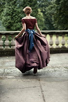 Magdalena Russocka historical woman running on terrace