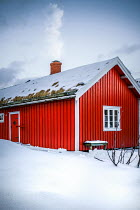 Des Panteva RED CABIN IN SNOW WITH SMOKE FROM CHIMNEY Houses