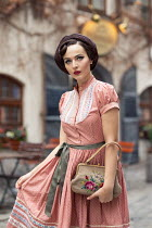 Nina Masic RETRO WOMAN IN DRESS OUTSIDE CAFE Women