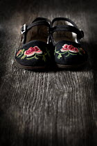 Jaime Brandel CLOSE UP OF EMBROIDERED FLORAL SHOES Miscellaneous Objects