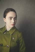 Anna Buczek YOUNG BRUNETTE GIRL IN GREEN COAT Women