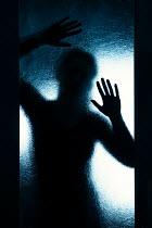 Magdalena Russocka silhouette of woman behind glass door