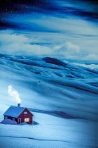 Des Panteva RED HOUSE IN SNOW WITH SMOKING CHIMNEY Houses