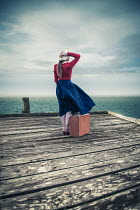 Marie Carr GIRL WITH SUITCASE ON JETTY BY SEA Women
