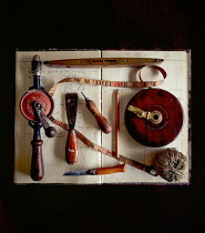 Jane Morley HISTORICAL CARPENTRY TOOLS ON NOTEBOOK Miscellaneous Objects