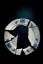 Jane Morley CLOSE UP OF BROKEN BLUE AND WHITE PLATE Miscellaneous Objects