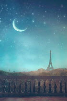 Drunaa Paris in moonlight with stars Miscellaneous Cities/Towns
