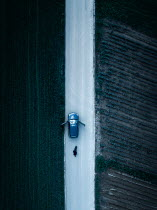 Magdalena Russocka aerial view of dead body of man lying next to car