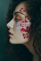 Alisa Andrei BRUNETTE WOMAN WITH PINK PETALS ON FACE Women
