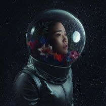 Anya Anti ASIAN FEMALE ASTRONAUT WITH FLOWERS AND MOON Women