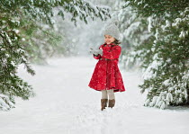 Lilia Alvarado HAPPY LITTLE GIRL IN SNOWY COUNTRYSIDE Children