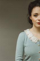 Shelley Richmond BRUNETTE WOMAN IN GREEN LACY CARDIGAN Women