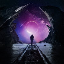 Zoltan Toth SILHOUETTED MAN WITH PURPLE PLANET IN NIGHT SKY Men