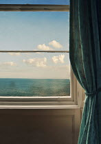 Lyn Randle WINDOW AND CURTAIN WITH SEA AND SKY Building Detail