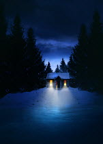 Sandra Cunningham CABIN WITH LIGHTS  BY FROZEN LAKE AT NIGHT Houses