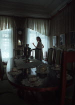 Ekaterina Pavlova WOMAN BY WINDOW IN DINING ROOM OF HOUSE Women