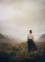 Mark Owen BLONDE HISTORICAL WOMAN WATCHING SNOWY MOUNTAINS Women