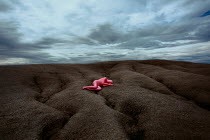 Felicia Simion WOMAN IN PINK BODYSUIT LYING ON CRACKED EARTH Women