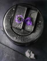 Andreeva Svoboda PURPLE FLOWER IN METAL BOX WITH RAINDROPS Flowers