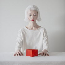 Dasha Pears WOMAN WITH WHITE HAIR STARING AT BOX Women