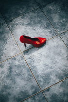 Nilufer Barin RED STILETTO IN RAIN ON WET TILES Miscellaneous Objects