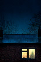 Lee Avison house at night with window illuminating person in silhouette