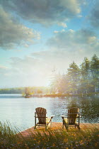 Sandra Cunningham TWO CHAIRS ON JETTY BY LAKE IN SUMMER