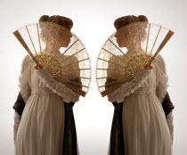 ILINA SIMEONOVA TWO REGENCY WOMEN STANDING HOLDING FANS