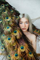 Jovana Rikalo BLONDE GIRL WITH PEACOCK FEATHERS