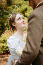 Shelley Richmond REGENCY COUPLE EMBRACING IN GARDEN