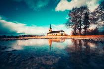 David Keochkerian COUNTRY CHURCH BY LAKE AND TREES