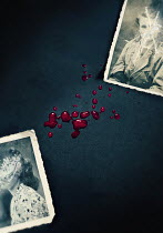 Lyn Randle OLD SCRATCHED PHOTOGRAPHS WITH DROPS OF BLOOD